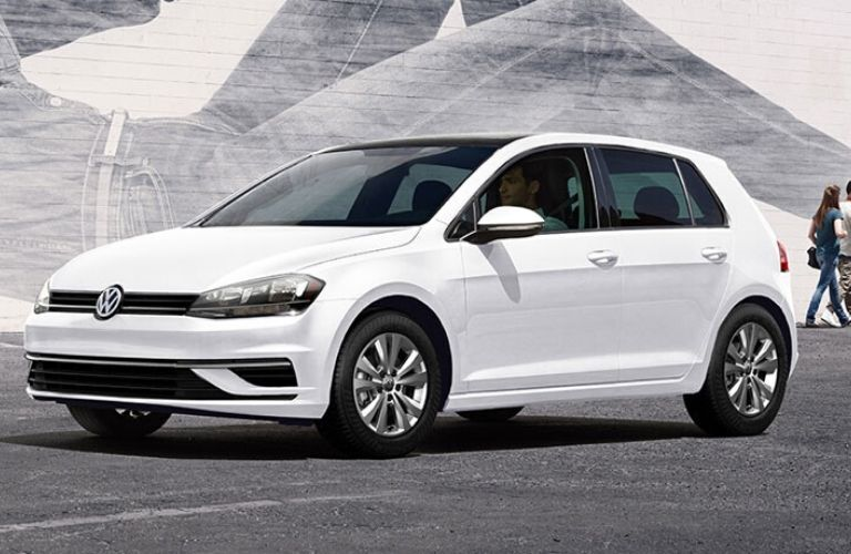 Exterior view of the front of a white 2020 Volkswagen Golf
