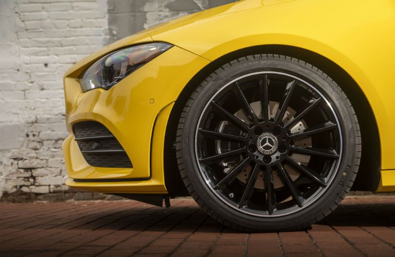 2020 MB CLA exterior close up of driver side wheel and headlight