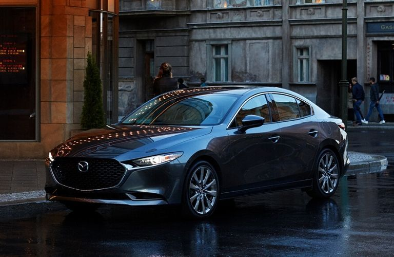 Exterior view of a gray 2020 Mazda3 Sedan