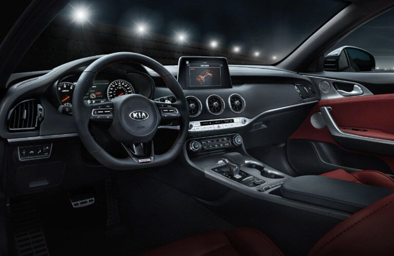 Interior driver area of the 2021 Kia Stinger