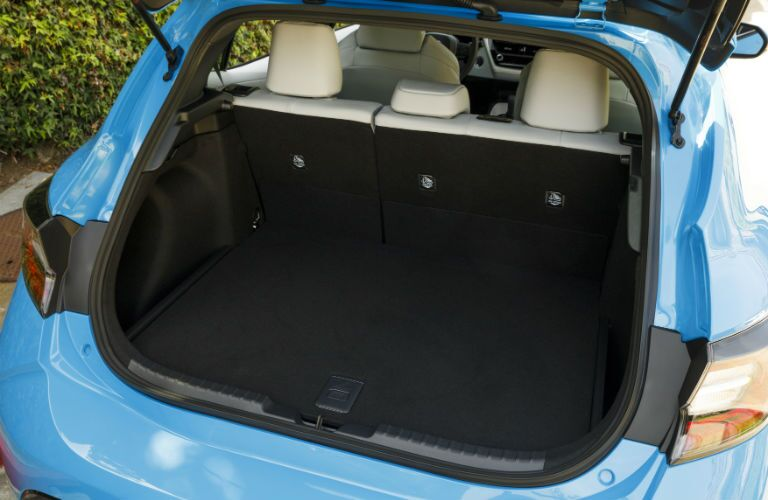 A photo of the cargo area in the back of the 2021 Toyota Corolla Hatchback.
