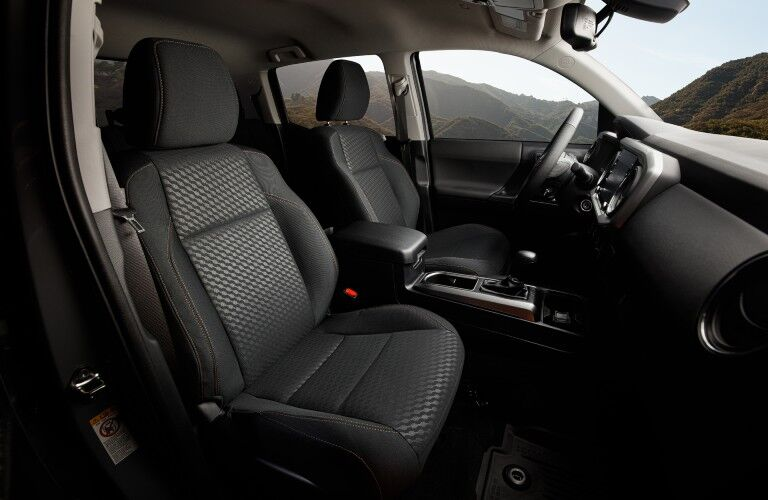 The front seats of the 2021 Toyota Tacoma.