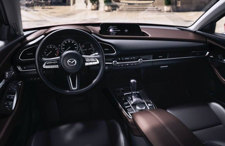 The front interior inside a 2021 Mazda CX-30.