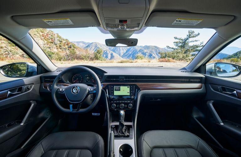 Interior view of the front seating area inside a 2020 Volkswagen Passat