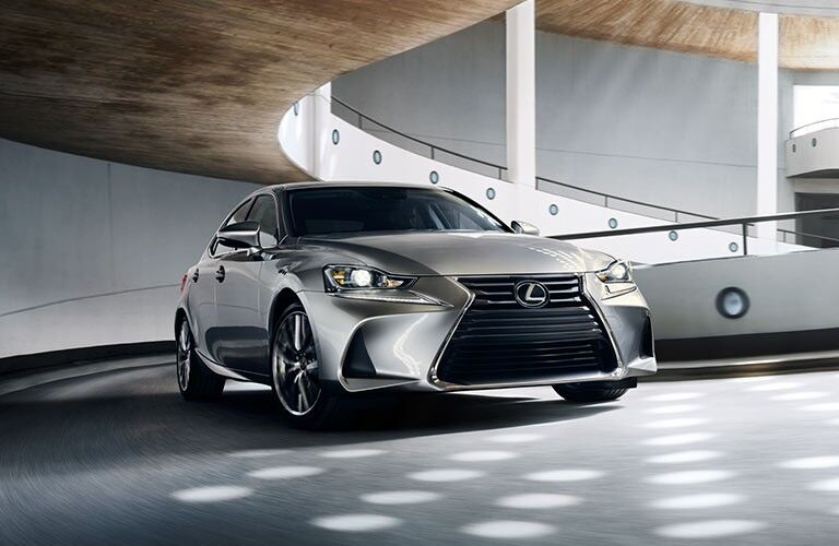 2021 Lexus IS on a ramp