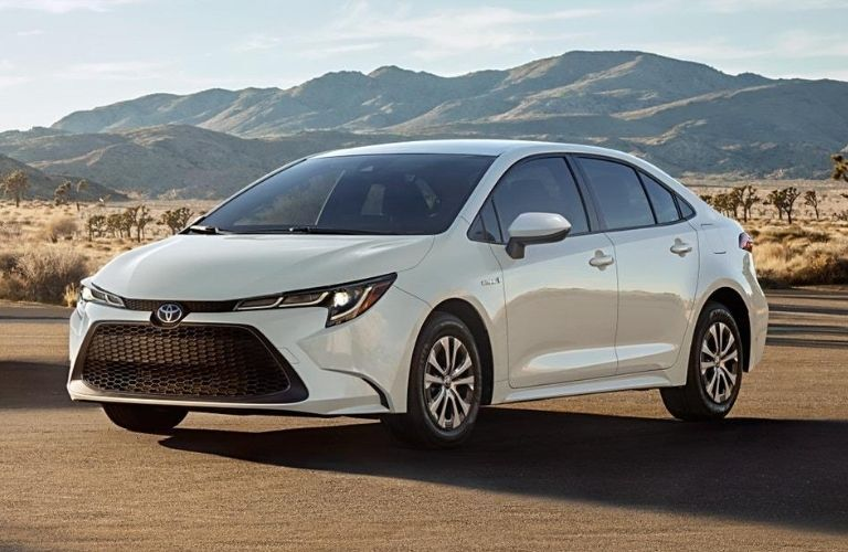 Exterior view of the front a white 2020 Toyota Corolla