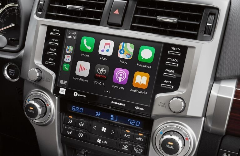 Interior view of the touch-screen display with Apple CarPlay® inside a 2020 Toyota 4Runner
