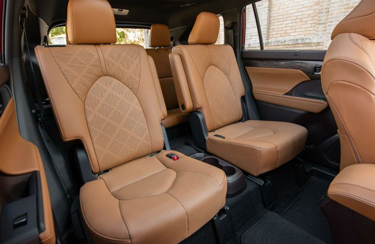 A photo of the second row of seats in the 2021 Toyota Highlander.
