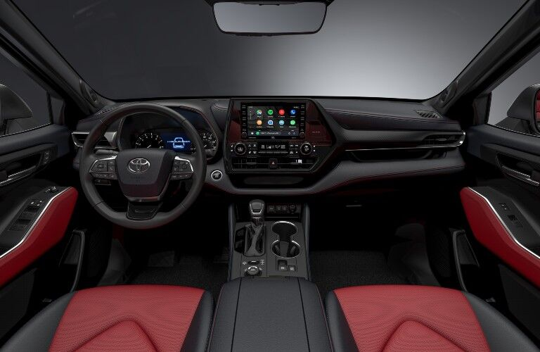 front interior view of the 2021 Toyota Highlander