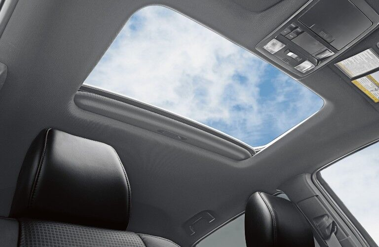 The interior view of the panoramic sunroof inside the 2021 Toyota Tacoma.