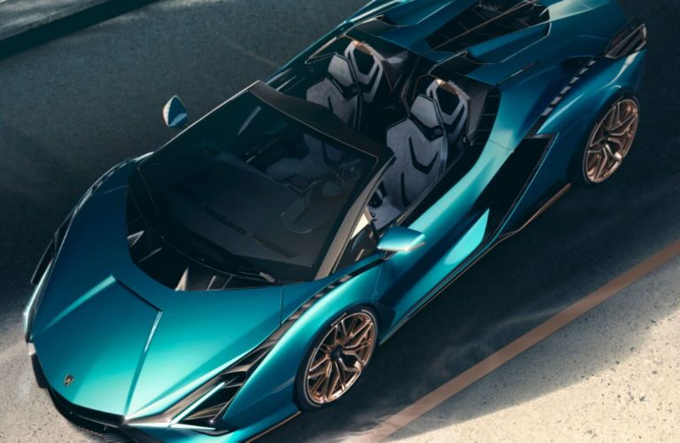 2020 Lamborghini Sian Roadster topview in blue