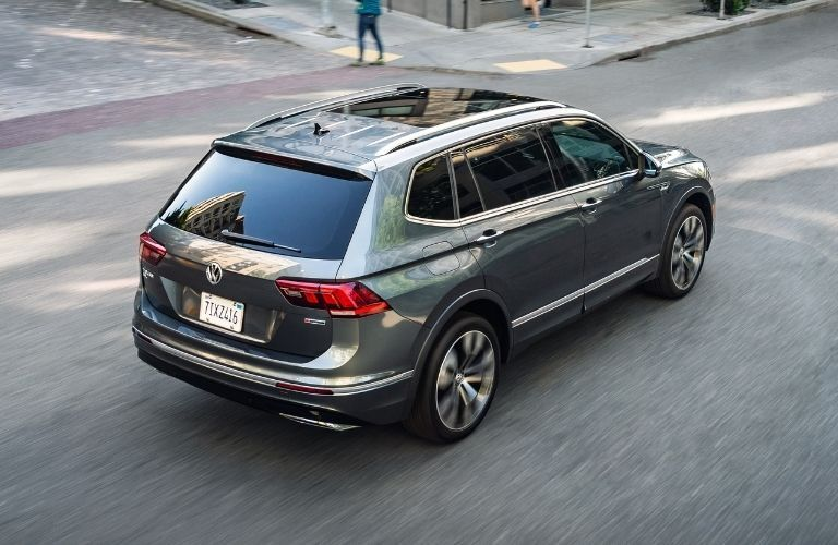 Exterior view of the rear of a gray 2020 Volkswagen Tiguan