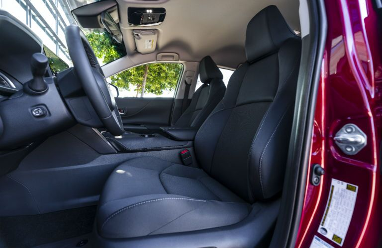 A photo of the front seats in the 2021 Toyota Venza.