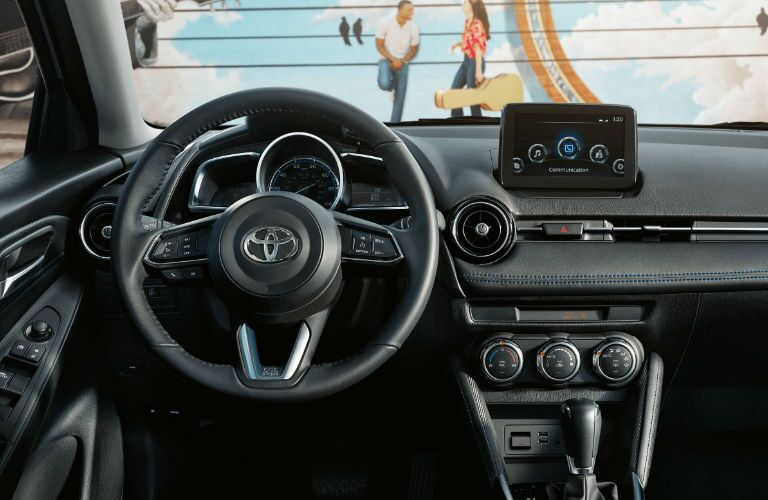 2020 Toyota Yaris dashboard and steering wheel