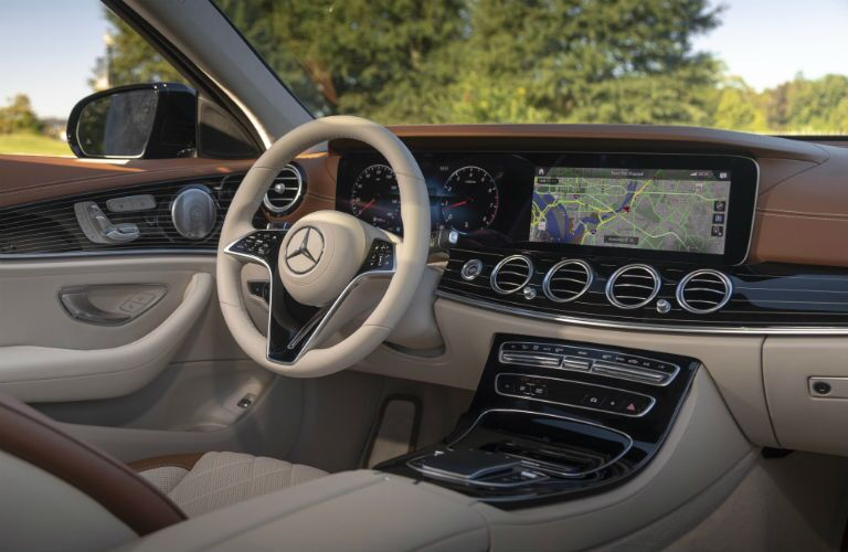 A photo of the driver's cockpit in the 2021 Mercedes-Benz E 350 4MATIC®.