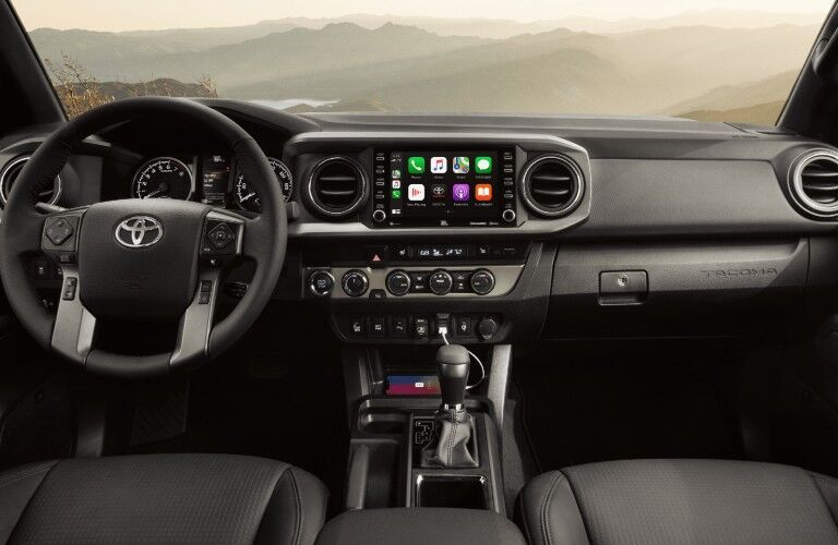 A  photo of the dashboard in the 2021 Toyota Tacoma.