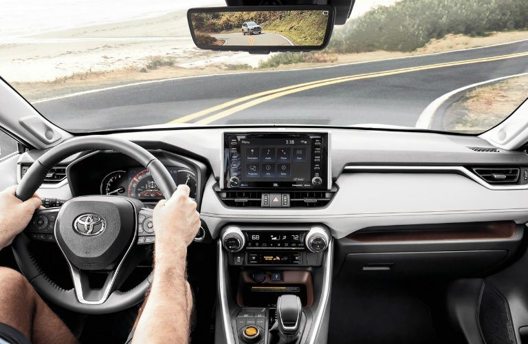 A photo of the dashboard in the 2020 Toyota RAV4.