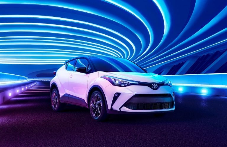 Exterior view of the front of a white 2020 Toyota C-HR