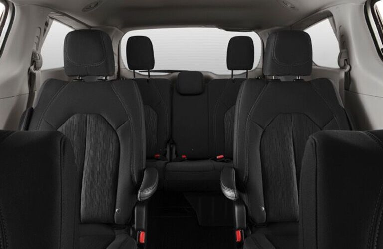 Second and third rows of seats in the 2020 Chrysler Voyager