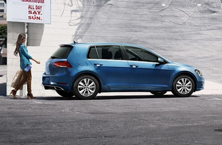 Exterior view of the rear of a blue 2020 Volkswagen Golf