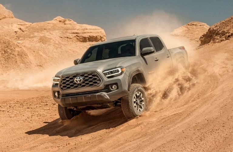 Exterior view of the front of a gray 2020 Toyota Tacoma
