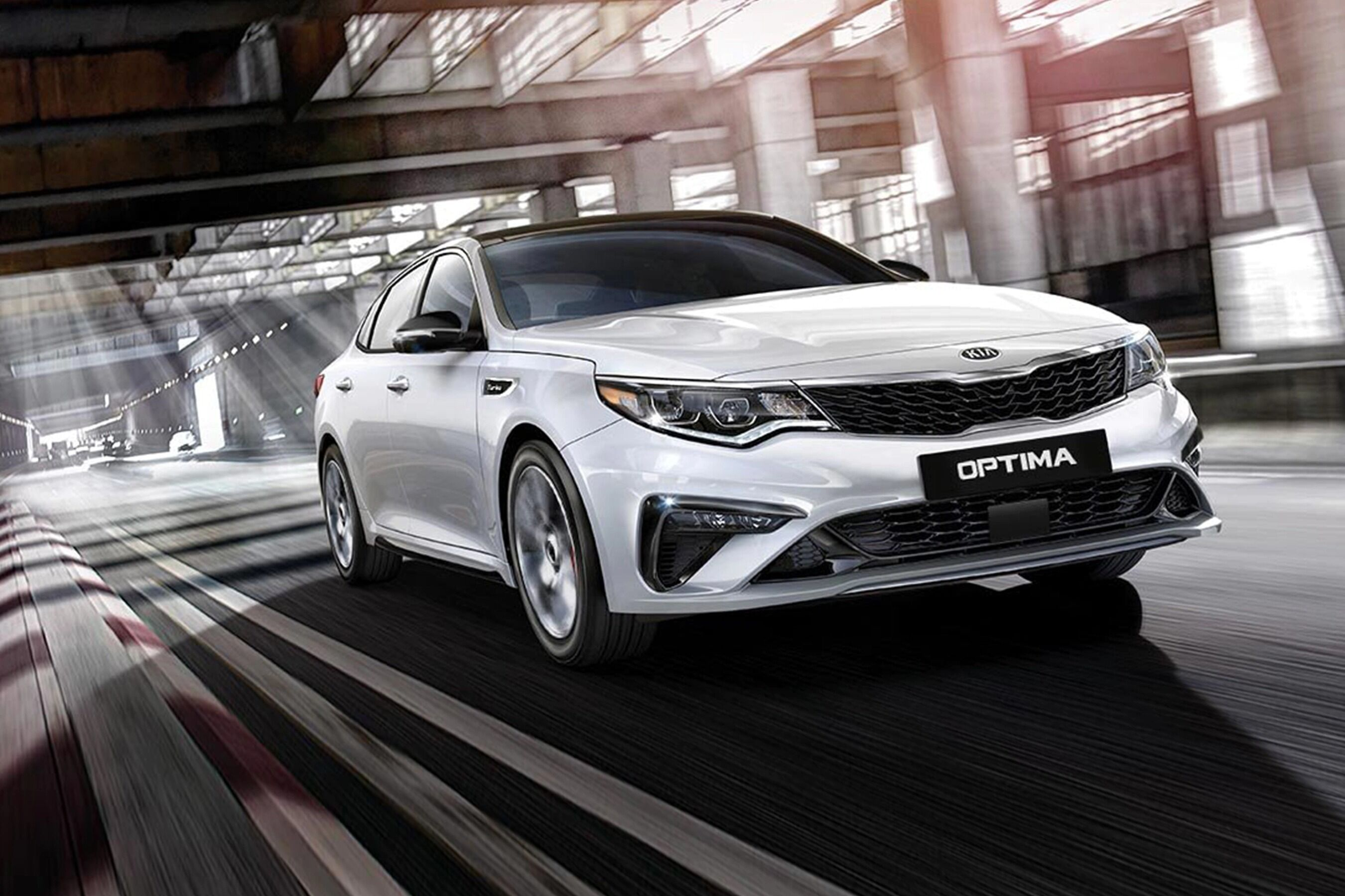 Exterior view of the front of a silver 2020 Kia Optima