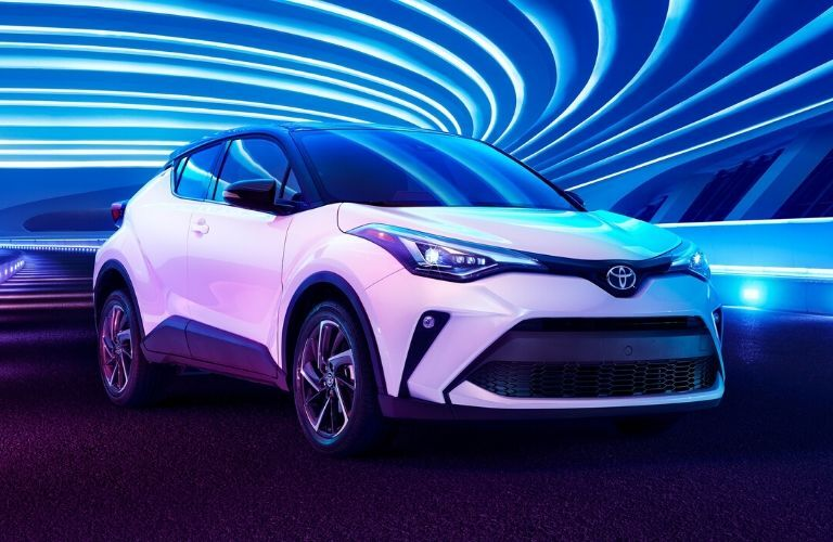 2020 Toyota C-HR under blue lights