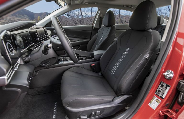 A photo of the front seats in the 2021 Hyundai Elantra.