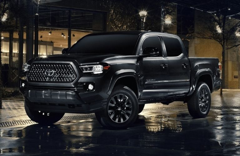 Exterior view of the front of a black 2021 Toyota Tacoma
