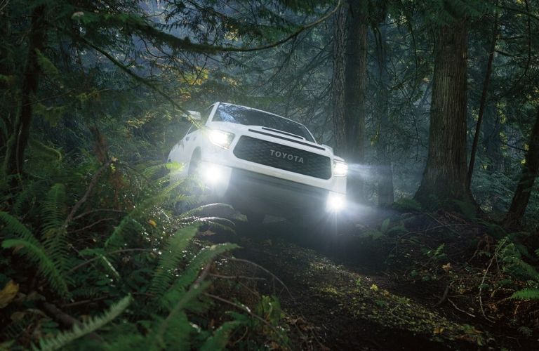 2020 Toyota Tundra driving on a forest trail