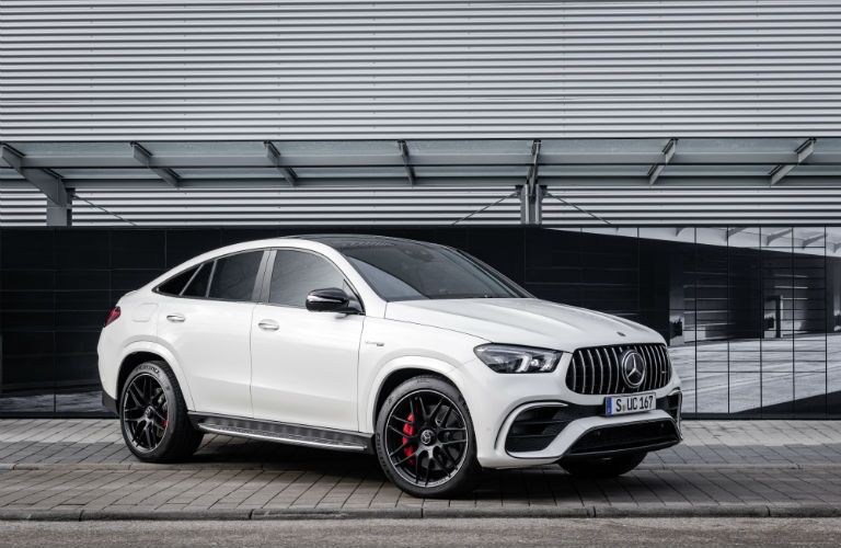 A front right quarter photo of the 2021 Mercedes-AMG® GLE 63 S Coupe.