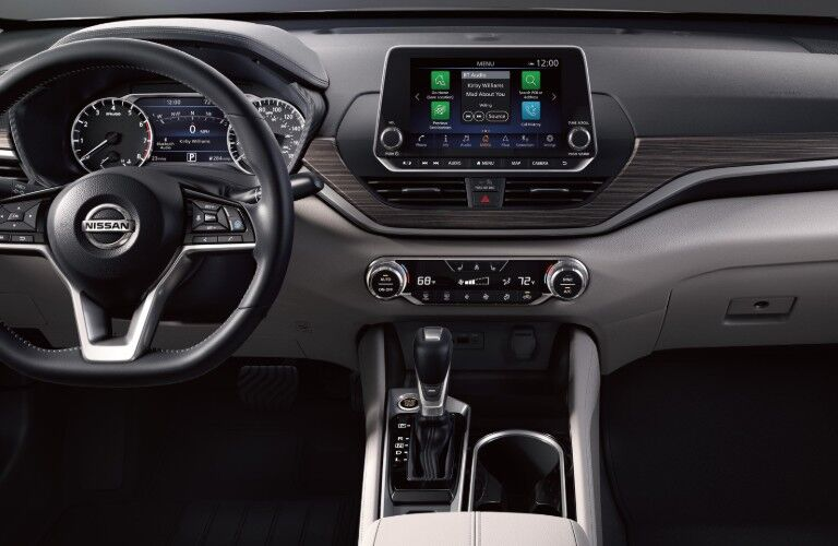 Steering wheel and dashboard inside the 2020 Nissan Altima
