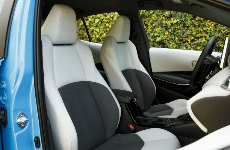 A photo of the front seats in the 2021 Toyota Corolla Hatchback.