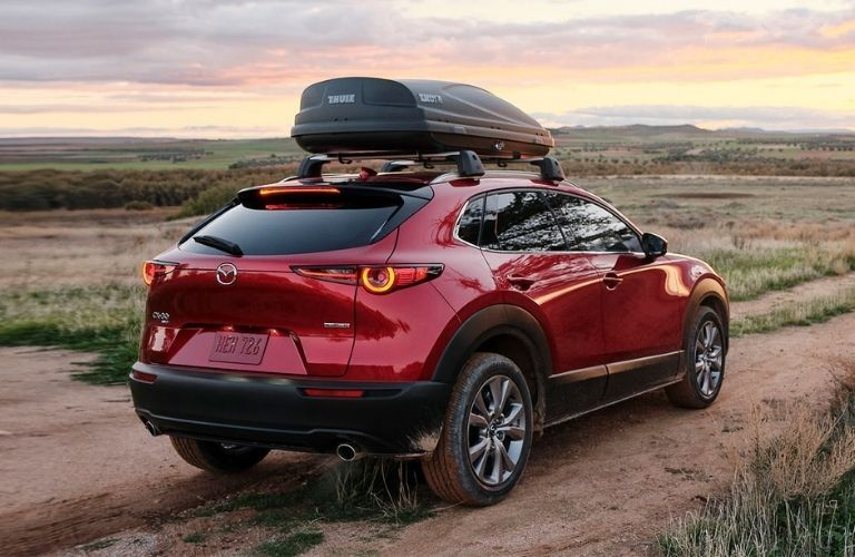 Exterior view of the rear of a red 2021 Mazda CX-30