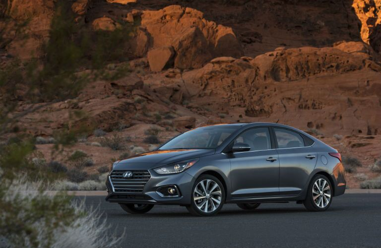 2020 Hyundai Accent parked in front of rocks