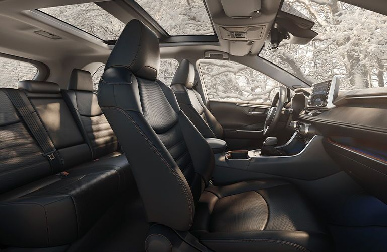 The interior seating found inside a 2020 Toyota RAV4.