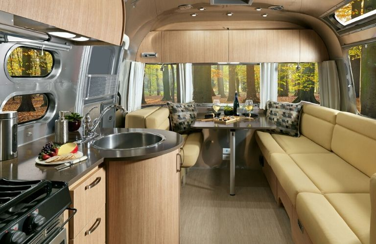Interior view of the front half of the 2020 Airstream Flying Cloud