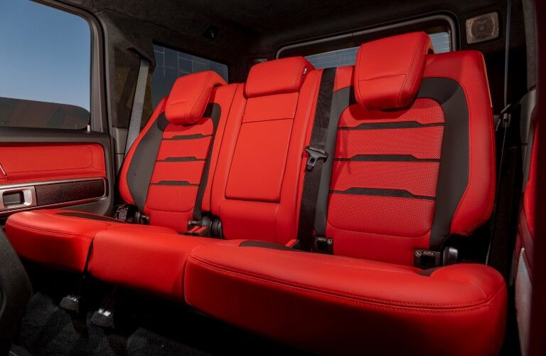 A photo of the backseat in the 2021 Mercedes-Benz G-Class SUV.