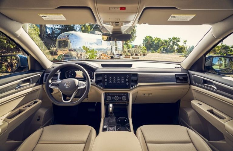 Interior front dash and seats of the 2021 Volkswagen Atlas