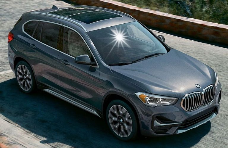 Exterior view of a gray 2020 BMW X1 Crossover