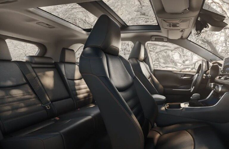 Interior first and second rows of 2021 Toyota RAV4