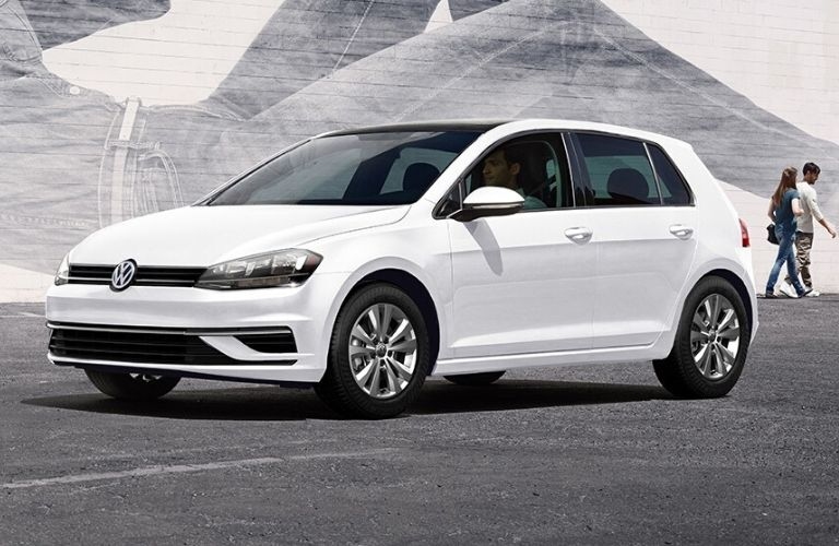 Exterior view of the front a white 2020 Volkswagen Golf