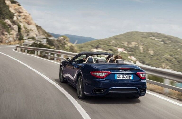 rear of blue 2020 Maserati Convertible