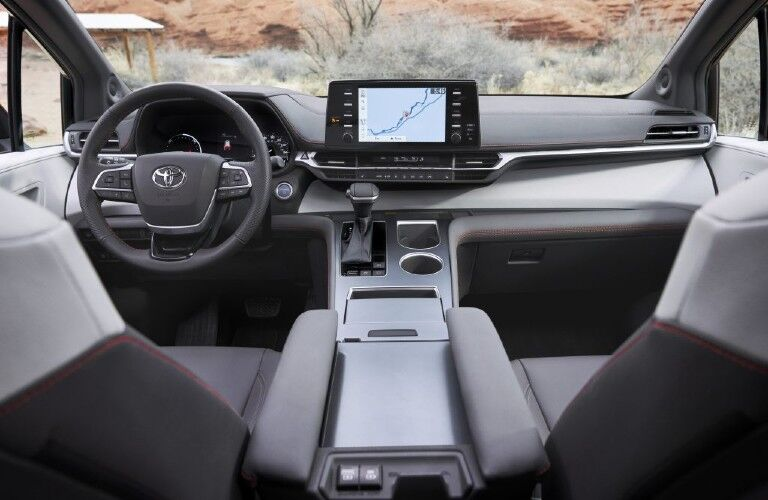 The front interior inside a 2021 Toyota Sienna.