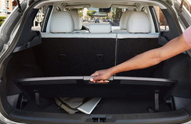 Person lifting the lift-up panel in the back of a 2019 Nissan Rogue Sport