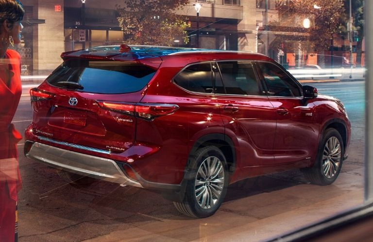 Exterior view of the rear of a red 2020 Toyota Highlander