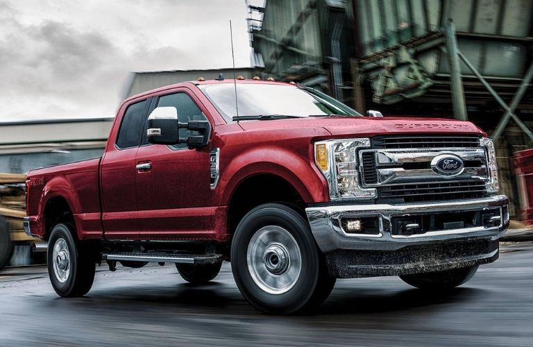 front-side view of red 2019 Ford F-350 Super Duty