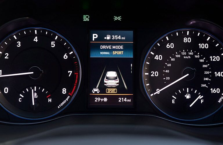2021 Hyundai Kona interior close up of digital instrument cluster