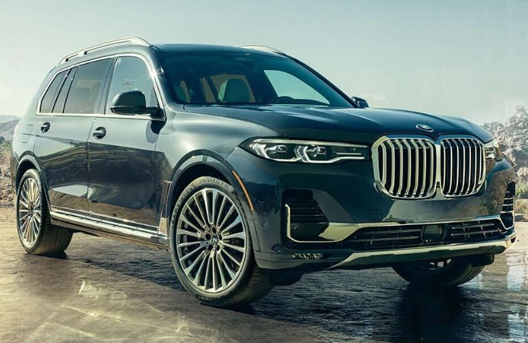 Exterior view of blue 2020 BMW X7 SUV