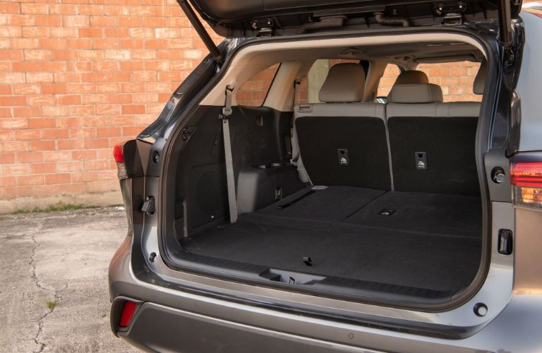 A photo of the cargo area in the rear of the 2020 Toyota Highlander.